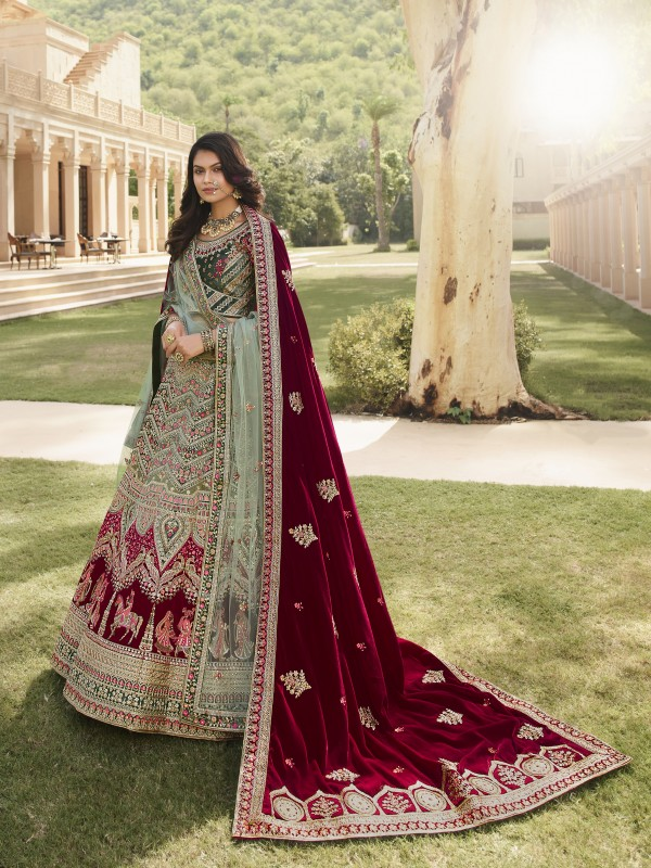 Pure Micro  Velvet Bridal  Wear Lehenga In Glacial Green  With Embroidery Work