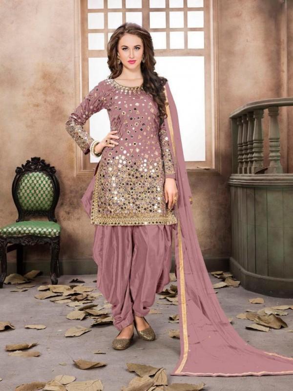 Satin Silk Party Wear Salwar Suit In Pink Embroidered Work,Stone ,Mirror work