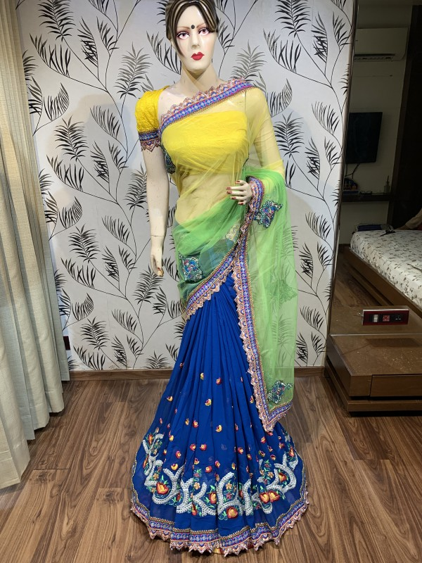 Soft Premium Net Party Wear Saree In Yellow & Blue With Embrodiery Work