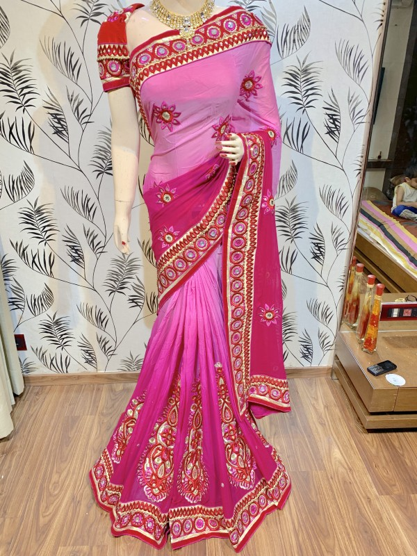 Pure Georgette Party Wear Saree In Green WIth Karacchi Work & Crystals Stone Work