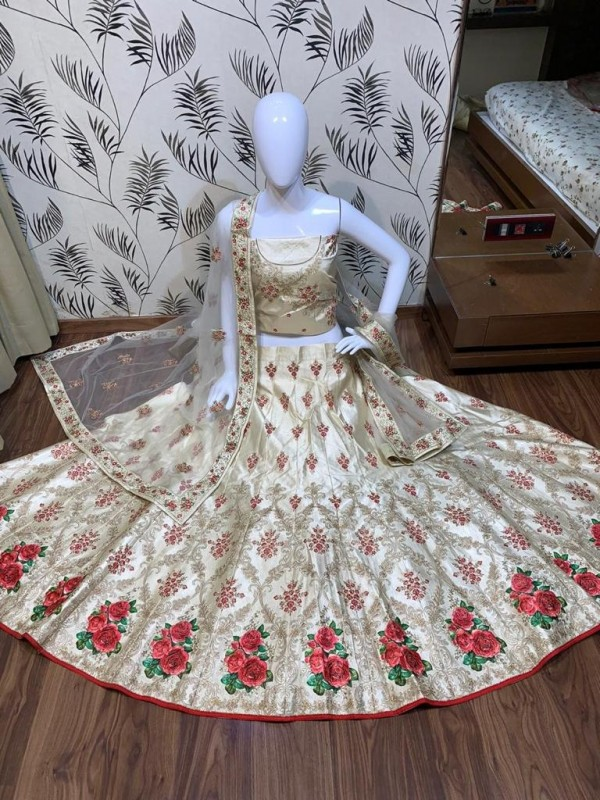 Satin Silk Wedding Wear Lehenga in Pastel Green color With Embroidery Work & Gottapatti work