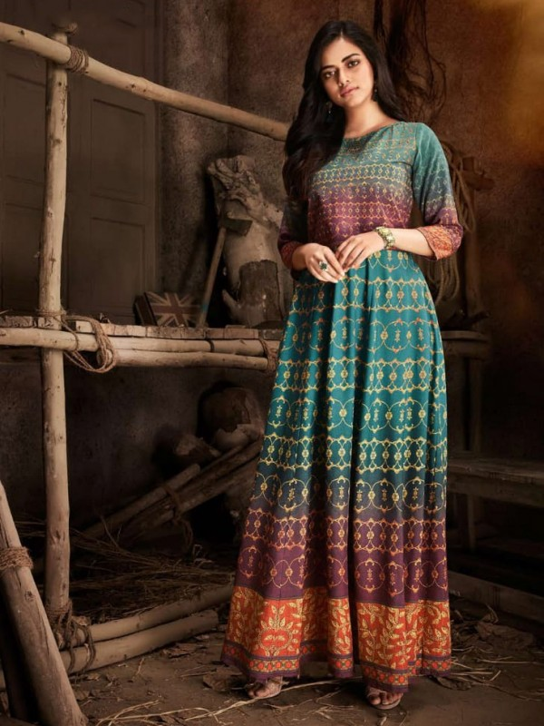 Rayon Embroidery Work Casual Wear Gown Rama Color