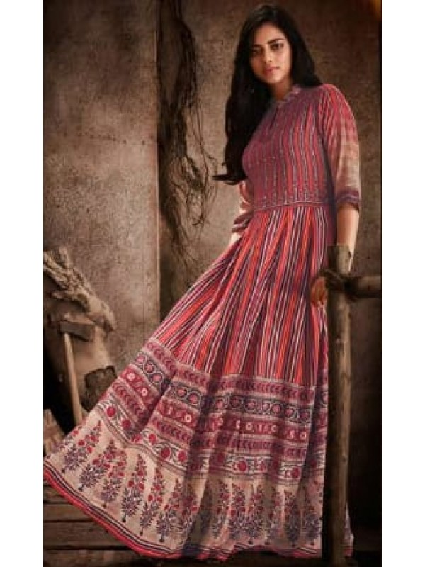 Rayon Embroidery Work Casual Wear Gown Pink Color