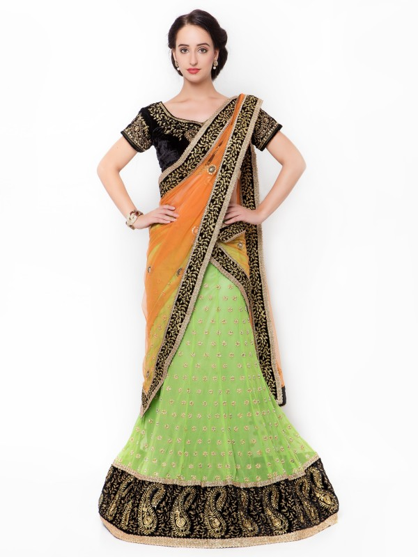 Pure Georgette Party Wear Lehenga Saree In Green With Crystal Stone Work