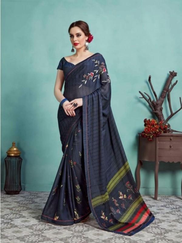 Georgette Silk Casual Wear Saree in Blue color