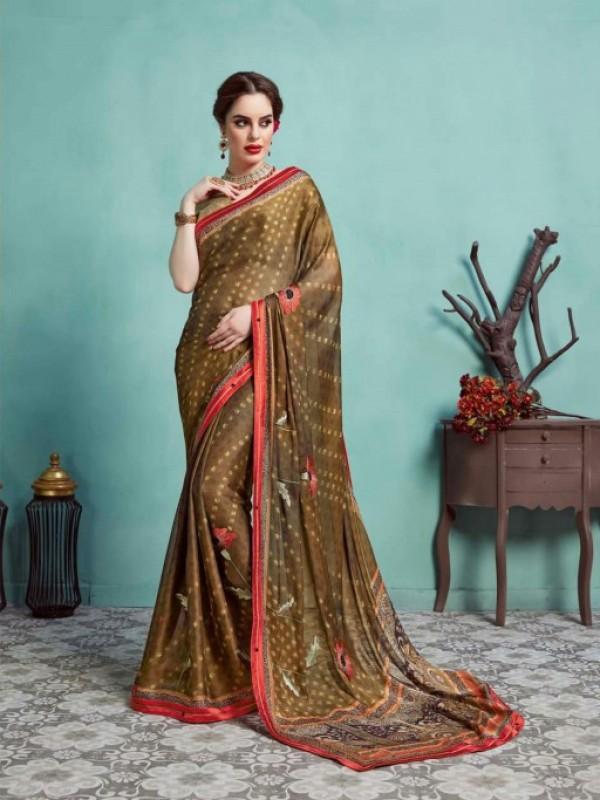 Georgette Silk Casual Wear Saree in Brown color
