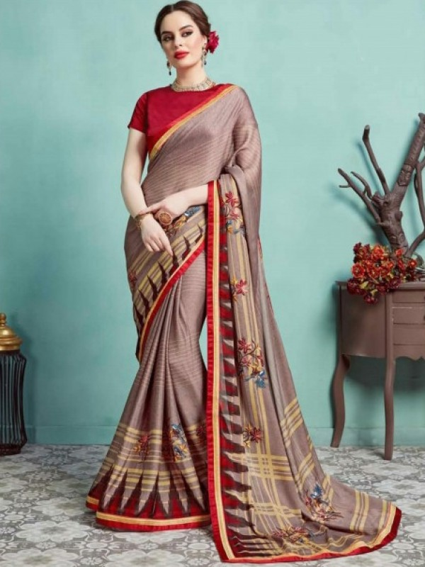 Georgette Silk Casual Wear Saree in Dusty Pink color