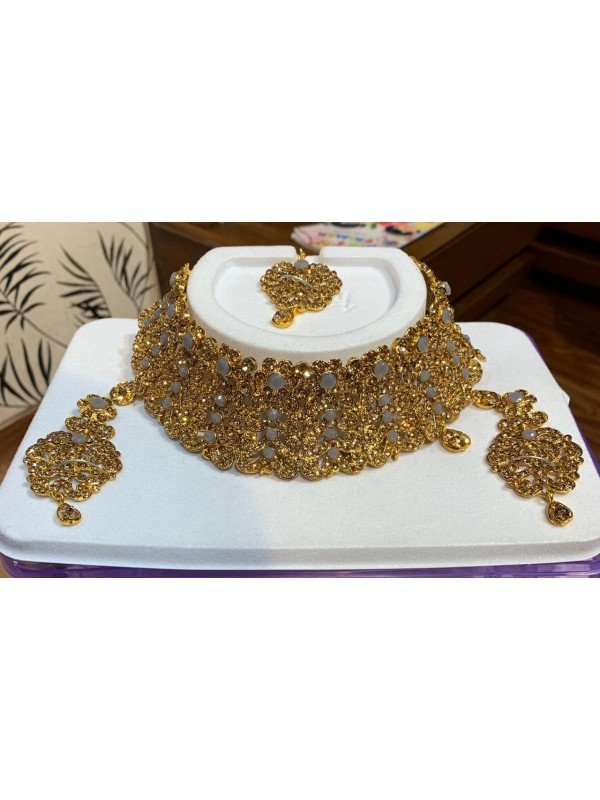 Golden Color Necklace with Golden Diamond work