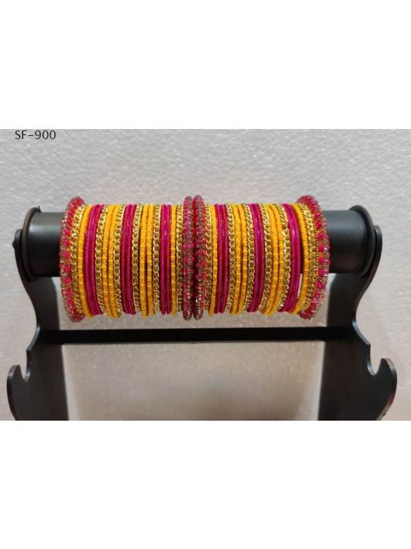 Golden Color Bangles with Yellow & Pink Diamond