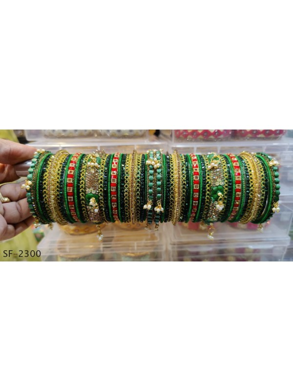 Golden Color Bridal Bangles with Green With White Diamond And Pearl