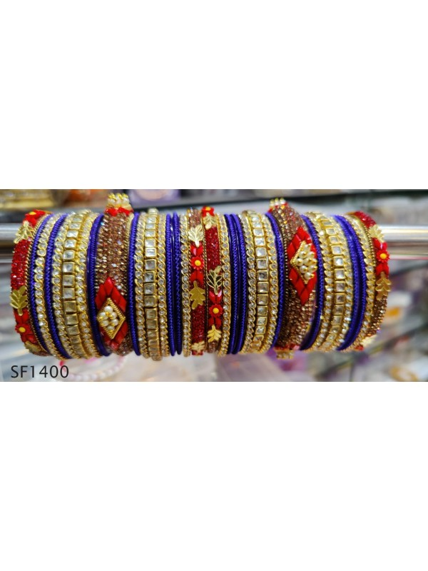 Golden Color Bridal Bangles with Blue & Red Diamond And Pearl