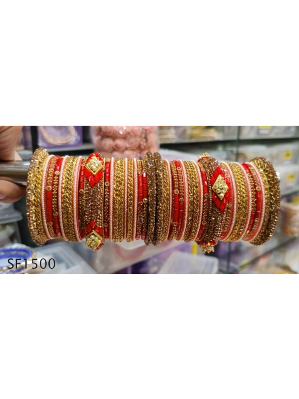 Golden Color Bridal Bangles with Red Diamond And Pearl