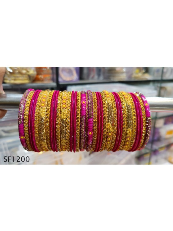 Golden Color  Bangles with Pink Diamond