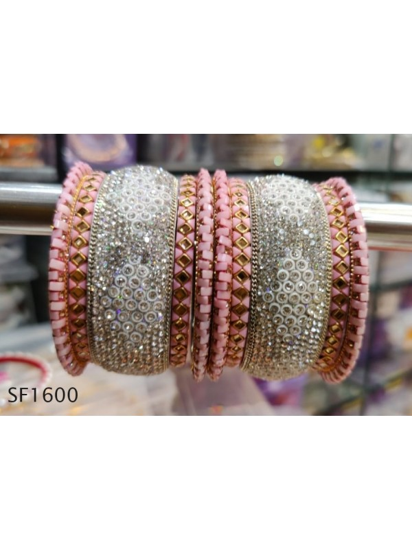 Pink Color  Bangles with White Diamond