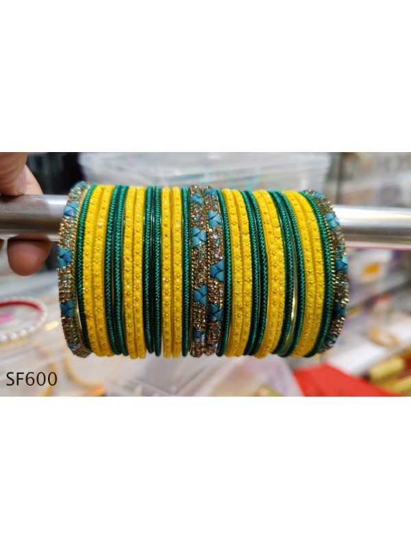 Yellow & Green Color  Bangles with Golden Diamond