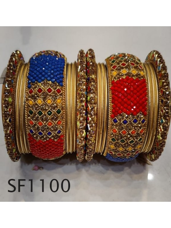 Golden Color  Bangles With Pink With White Diamond And Blue & Red Pearl