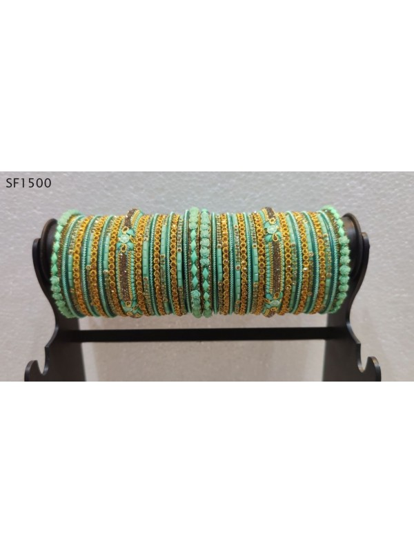 Golden & Turquoise Color  Bangles With White Diamond