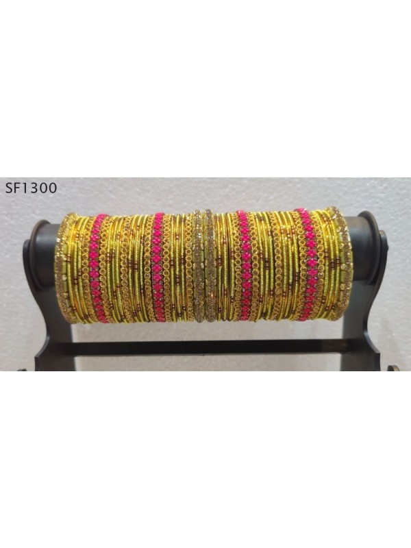 Golden Color  Bangles With Pink With Pink & White Diamond