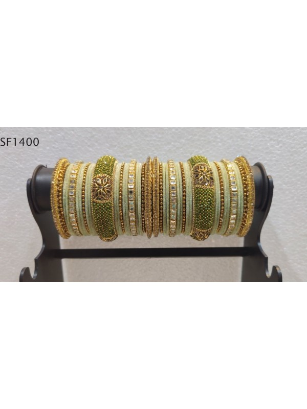 Golden Color Bridal Bangles With Pink With Green & White Diamond