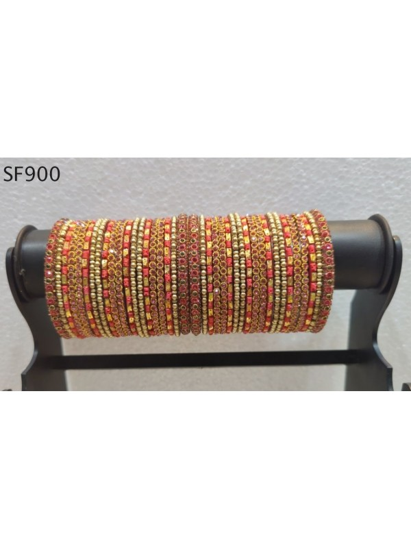 Golden Color  Bangles With Pink With White Diamond