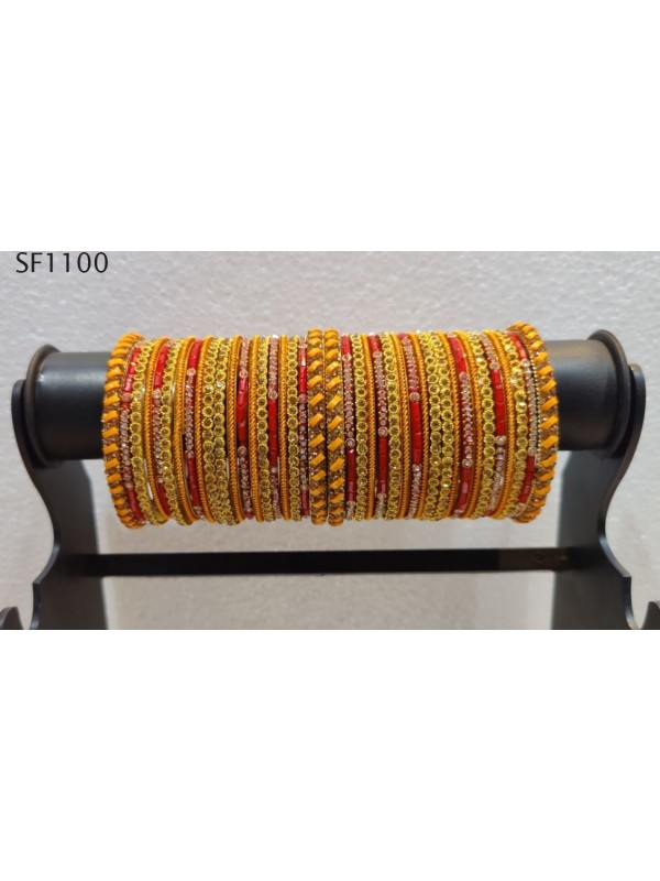 Golden Color  Bangles With Yellow With White Diamond