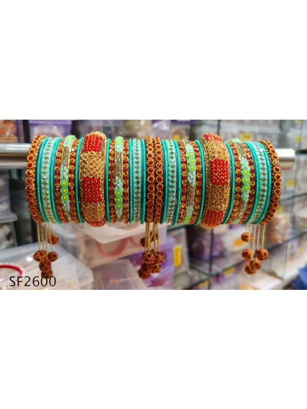 Golden Color Bridal Bangles With Turquoise With White Diamond And Red & Turquoise Pearl