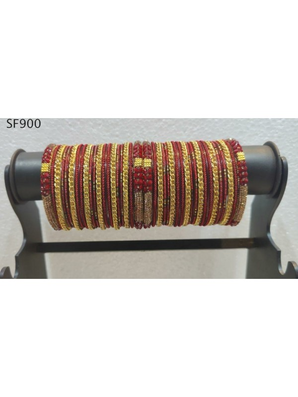 Golden & Red Color  Bangles With White Diamond