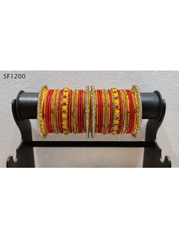 Golden Color Bridal Bangles With Turquoise With White Diamond