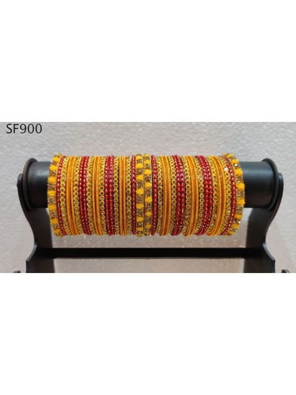 Golden & Yellow Color  Bangles With White Diamond