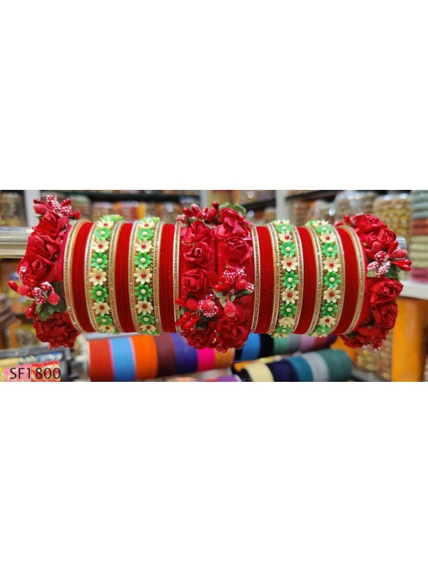 Red Color  Bangles With White Diamond
