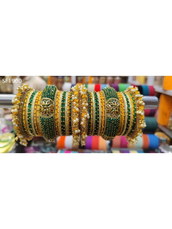 Green & Yellow Color  Bangles With White Diamond And Pearl