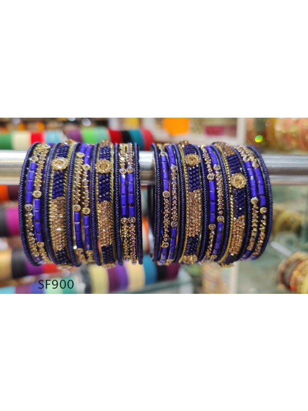 Golden & Blue Color  Bangles With White Diamond