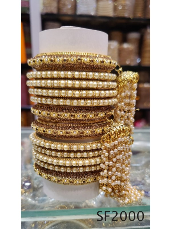 Golden Color  Bangles With White Diamond And Pearl