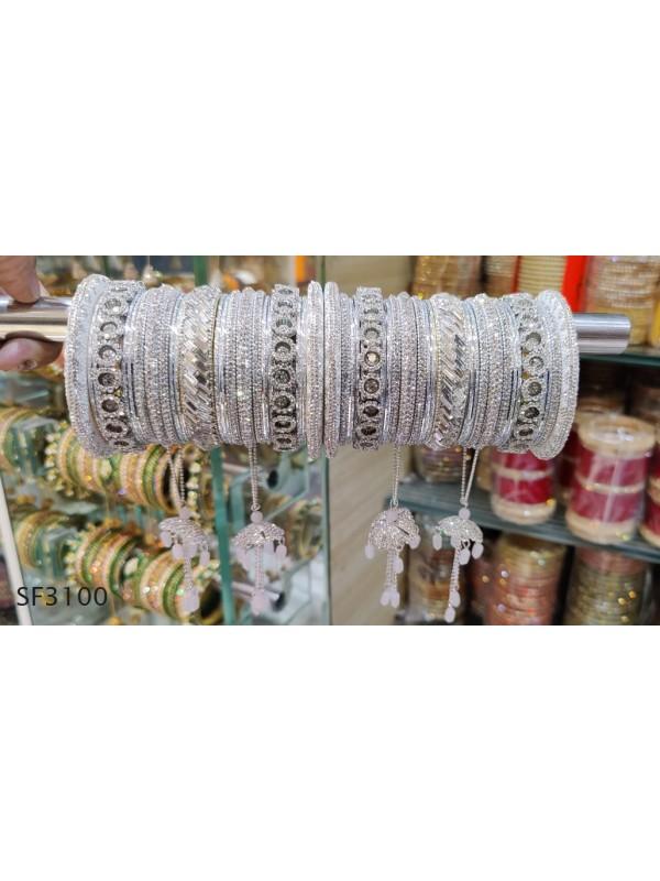 White Color Bridal Bangles With White Diamond