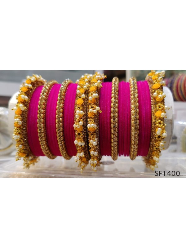 Golden & Pink Color  Bangles With White Diamond And Pearl