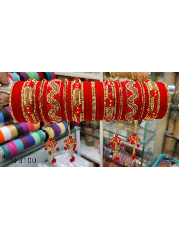 Golden & Red Color Bridal Bangles With White Diamond