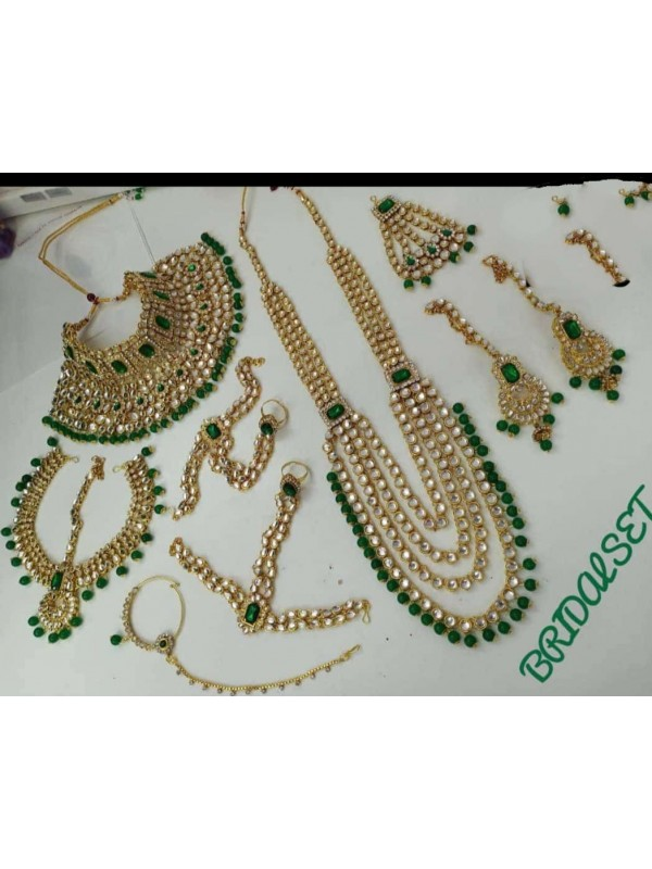 Golden Color Bridal Set  With White&Green Diamond