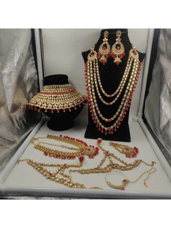 Golden Color Bridal Set  With White&Red Diamond