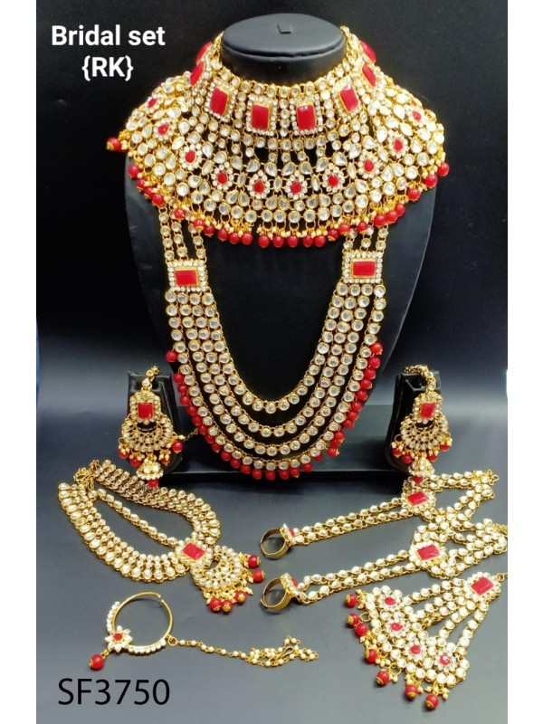 Golden Color Bridal Set  With White & Red Diamond