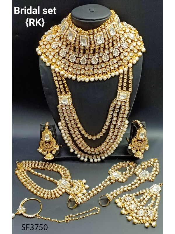 Golden Color Bridal Set  With White  Diamond
