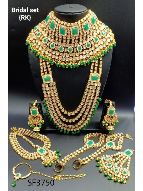 Golden Color Bridal Set  With White & Green Diamond
