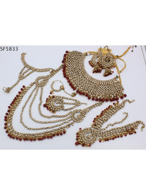 Golden Color Bridal Set  With White&Maroon Diamond