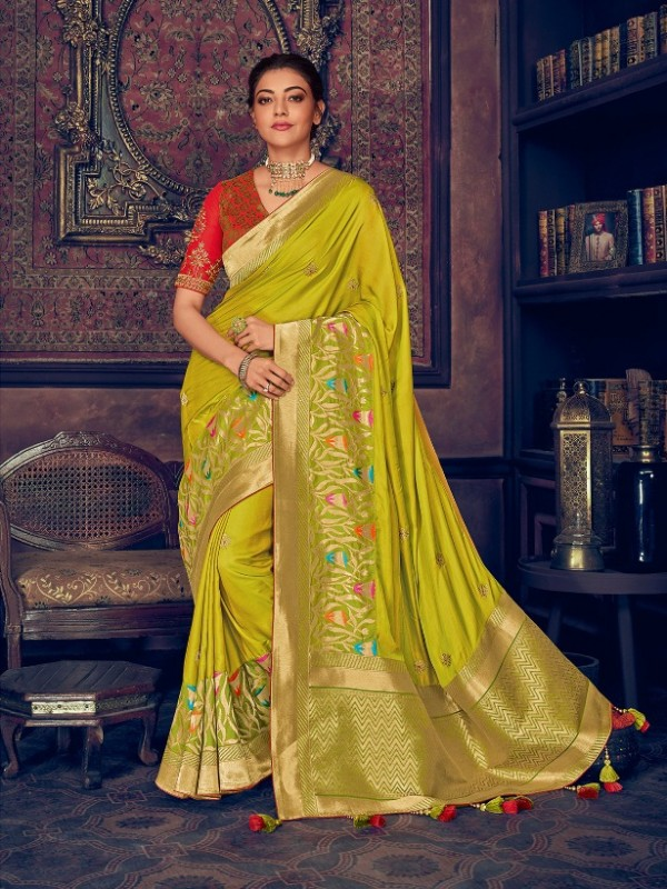 Pure Natural  Silk Weaving Wedding  Wear Saree In Light Green with Embroidery Work