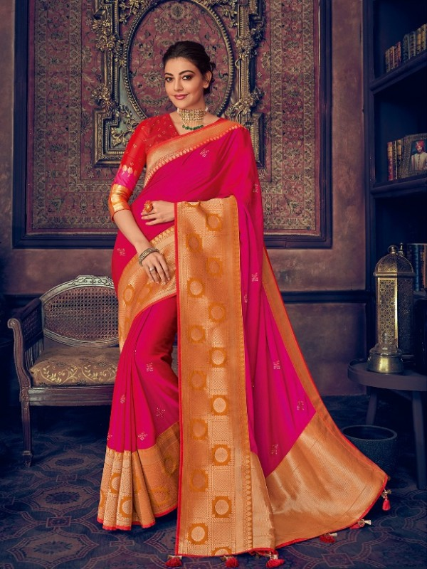 Pure Natural  Silk Weaving Wedding  Wear Saree In Pink with Embroidery Work