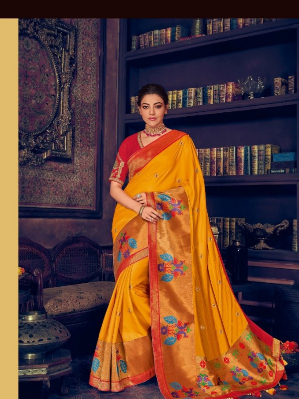 Pure Natural  Silk Weaving Wedding  Wear Saree In Yellow with Embroidery Work