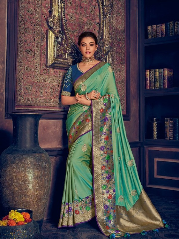Pure Natural  Silk Weaving Wedding  Wear Saree In Turquoise with Embroidery Work