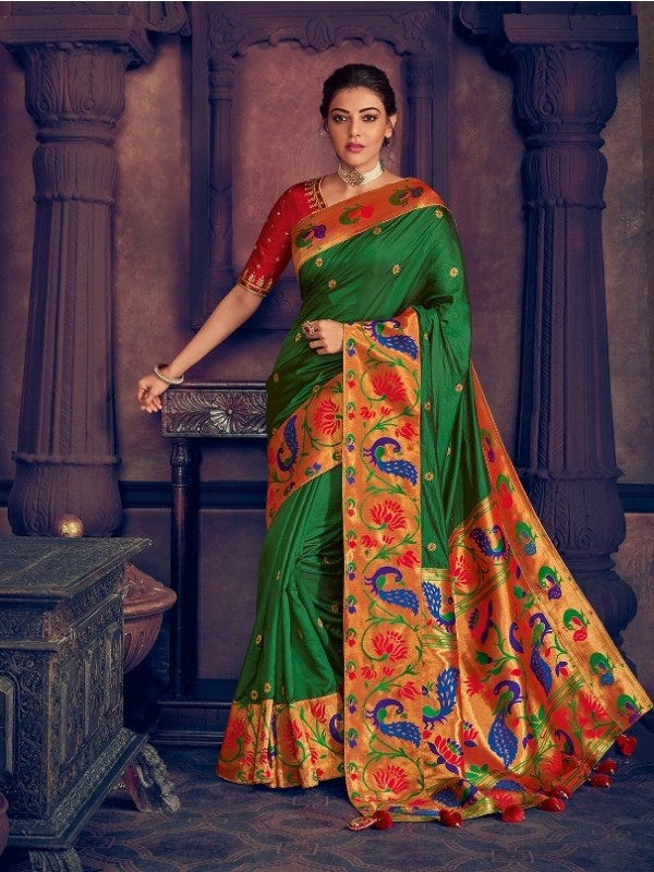Pure Natural  Silk Weaving Wedding  Wear Saree In Green with Embroidery Work