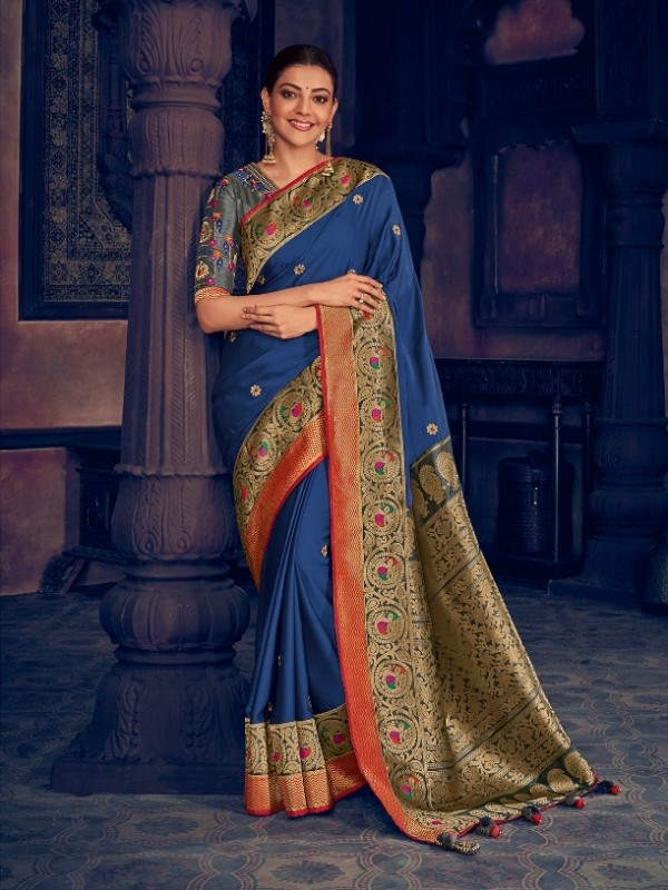 Pure Natural  Silk Weaving Wedding  Wear Saree In Royal  Blue  with Embroidery Work