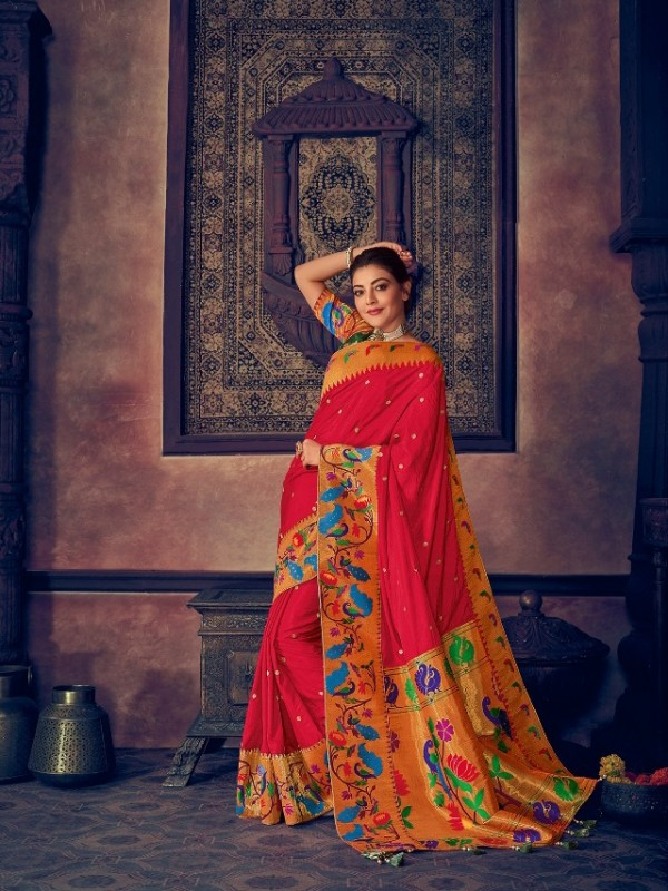 Pure Natural  Silk Weaving Wedding  Wear Saree In Red with Embroidery Work