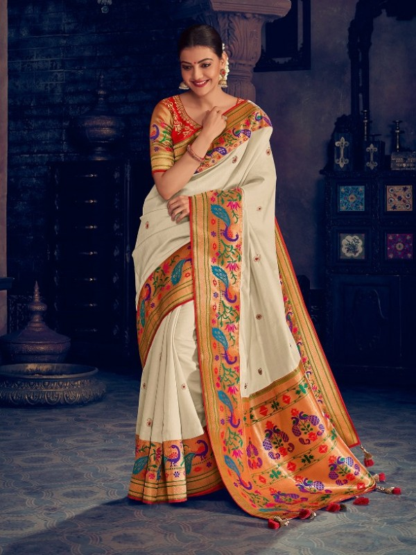 Pure Natural  Silk Weaving Wedding  Wear Saree In White  with Embroidery Work
